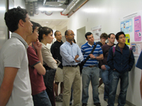 Students gather for a tour of various research labs.